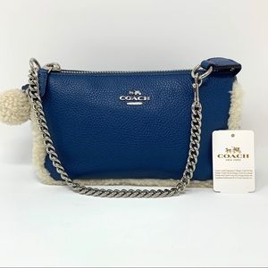 Coach Large Shearling Chain PomPom Wristlet